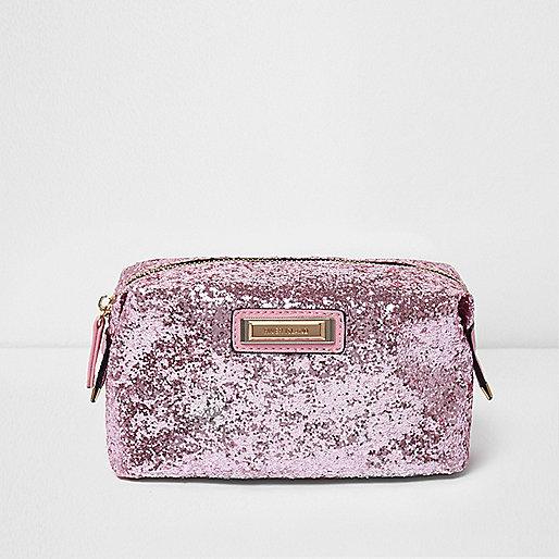 Pink glitter make-up bag