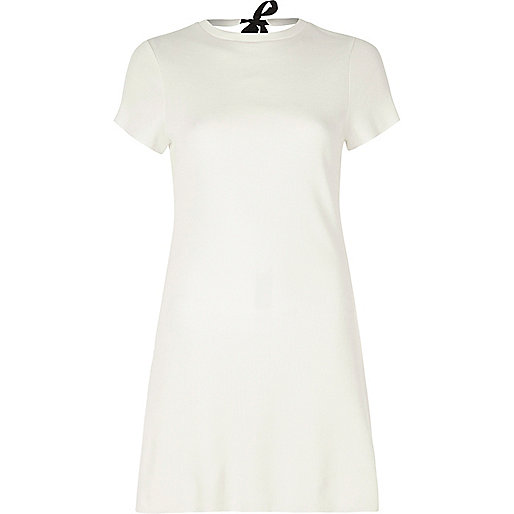 Cream ribbed tie back short sleeve tunic