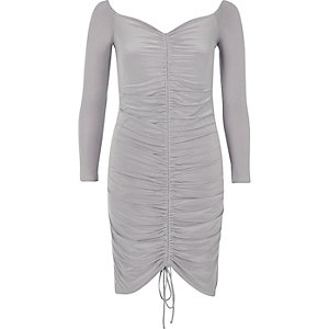 Grey ruched bodycon dress