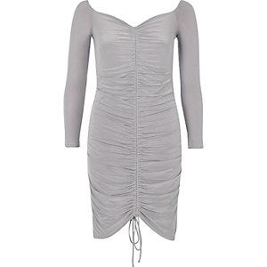 Grey ruched bodycon dress