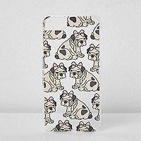 Coque pour iPhone 6/7 beige motif chien avec nœud