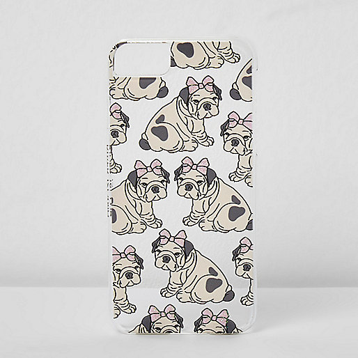 Beige dog bow iPhone 6/7 case