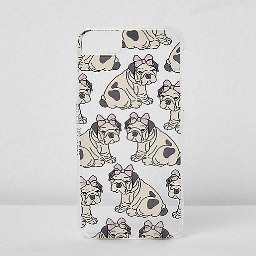 Beige hoes met met hond met strik voor iPhone 6/7
