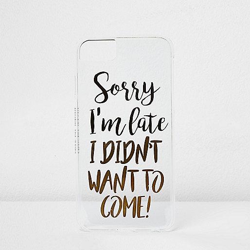Zwarte telefoonhoes met 'I'm late'-opdruk