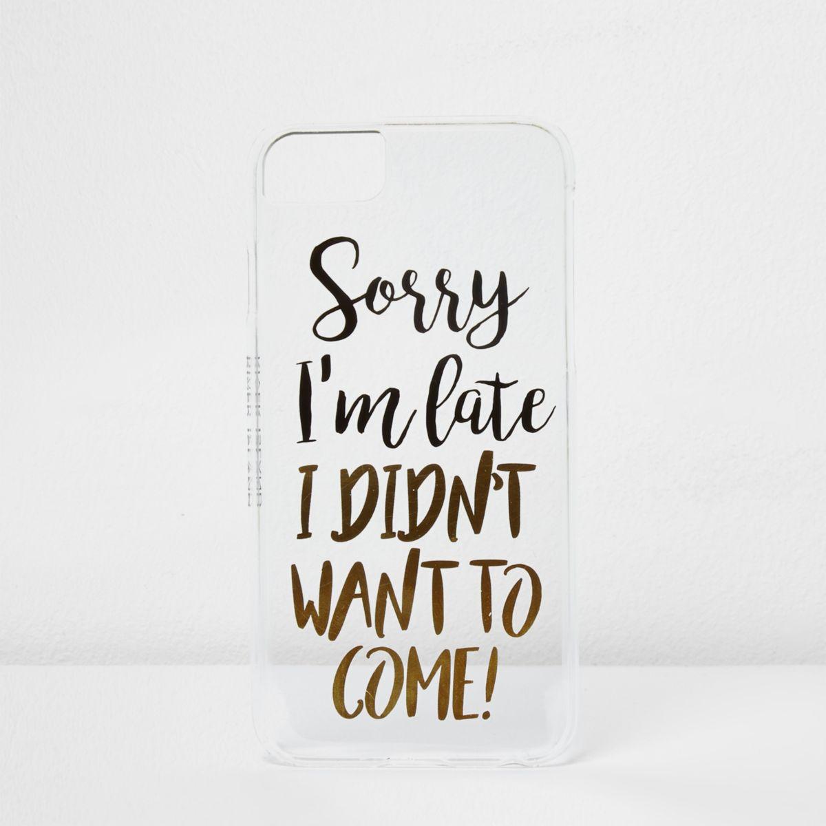 Black 'sorry I'm late' phone case