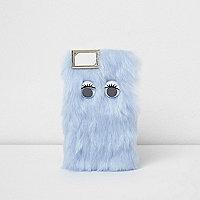 Skinny dip - Blauw pluizig iPhone-hoesje met imitatiebont