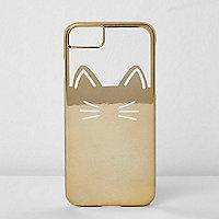Goudkleurige telefoonhoes met kat en folie-effect