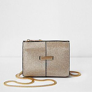 Gold glitter mesh cross body chain bag