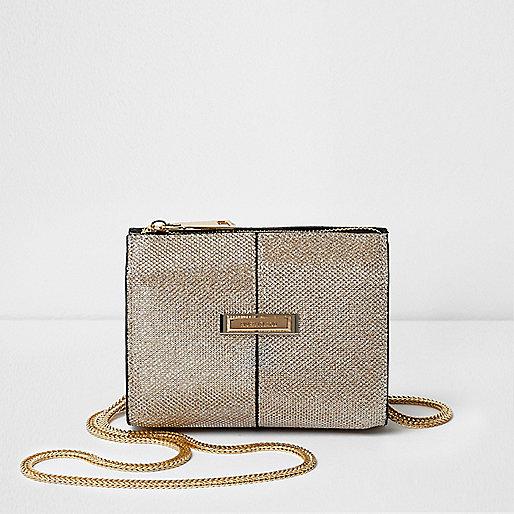 Gold glitter mesh cross body chain bag