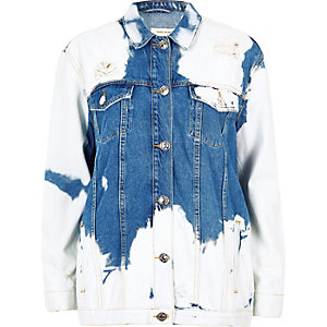 Mid blue cow print distressed denim jacket