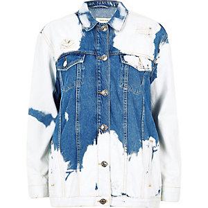 Mid blue cow print distressed denim jacket