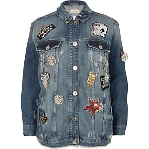Blue brooch distressed oversized denim jacket