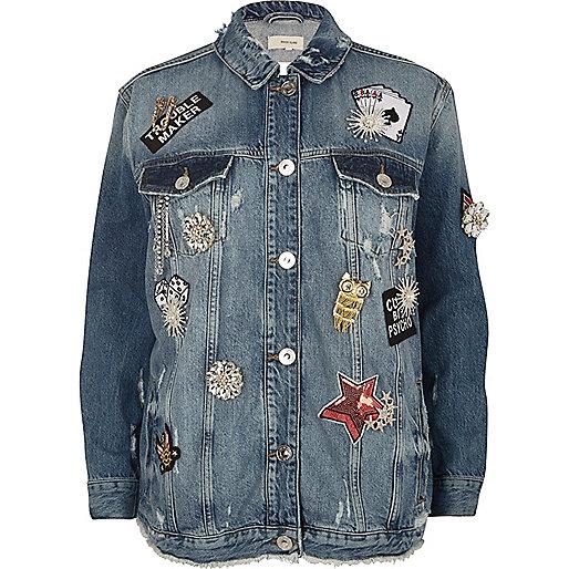 Blue brooch distressed oversized denim jacket