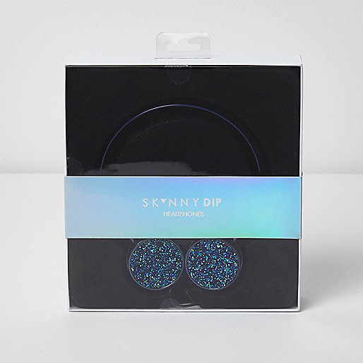 Skinny Dip blue glitter headphones
