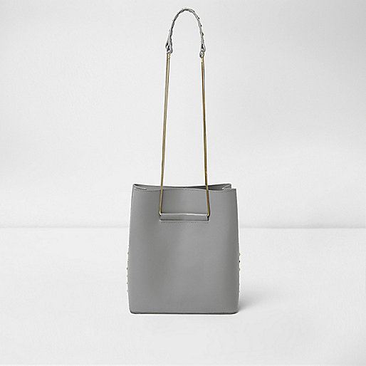 Grey leather studded chain bucket bag