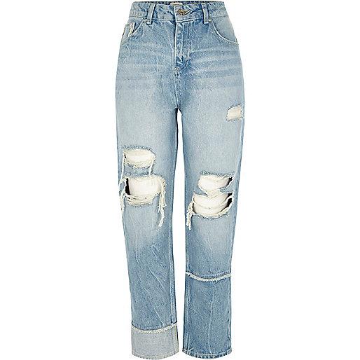 Mid blue ripped seam straight leg jeans