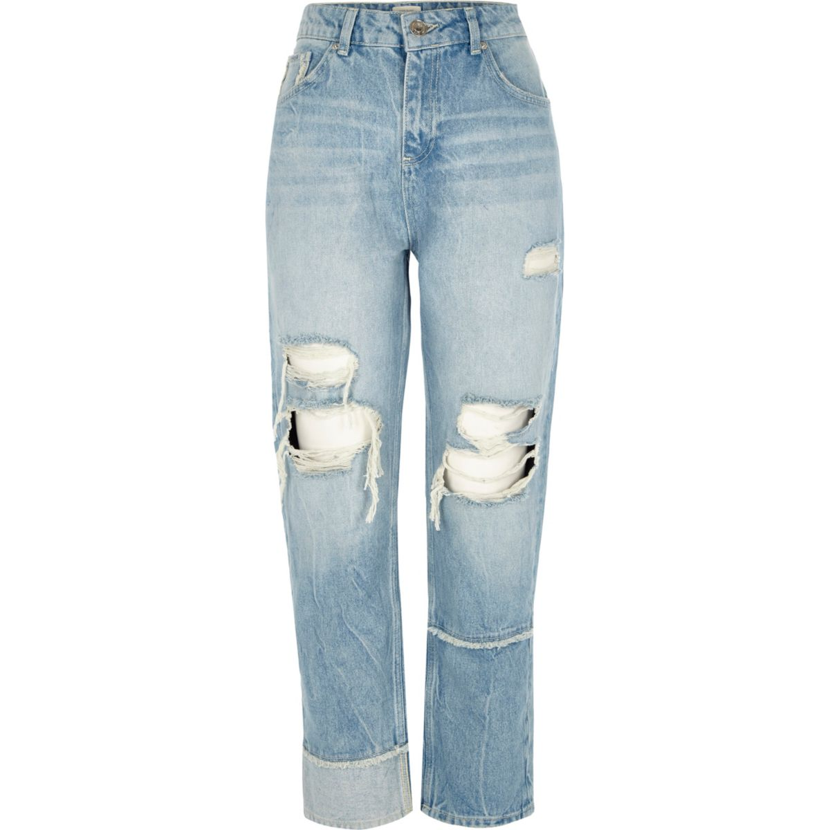 Mid blue ripped seam straight leg jeans