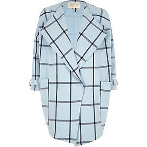 Blue check fallaway oversized jacket