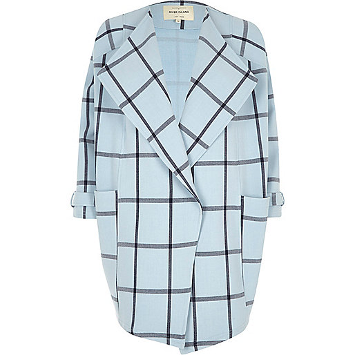 Blue check fallaway oversized jacket