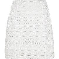 White broderie mini skirt