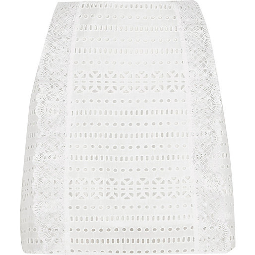 White broderie mini skirt