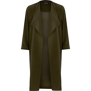 Khaki green popper side duster coat