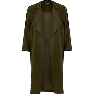 Manteau long vert kaki à boutons-pression sur le côté