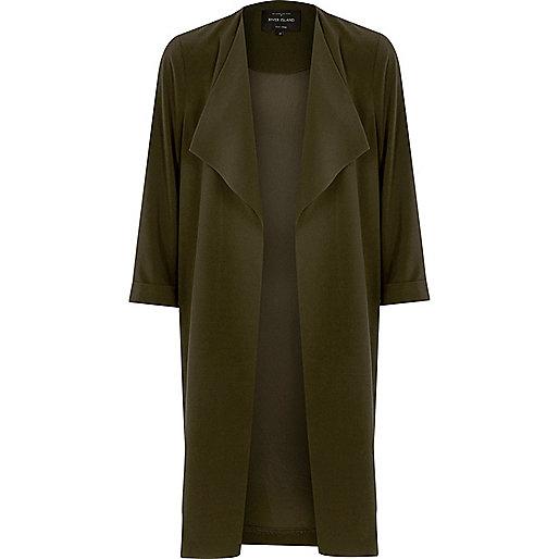 Khaki green popper side duster coat
