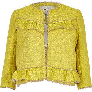 Gelbe Tweed-Jacke mit Rüschen