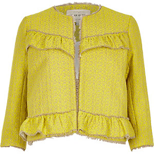 Yellow frill tweed jacket