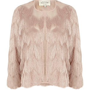 Light pink fringed cropped jacket