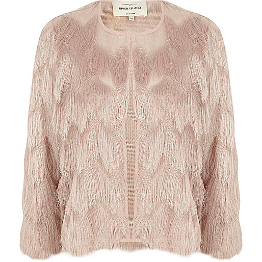 Light pink fringed cropped jacket