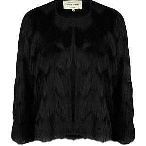 Veste courte noire à franges