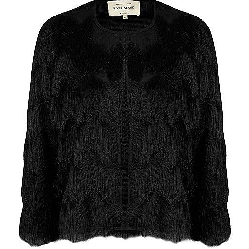 Black fringed cropped jacket