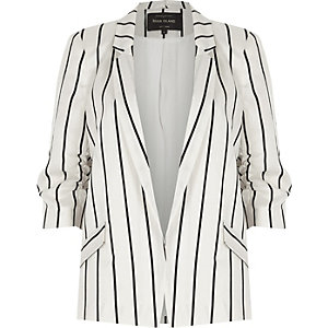 White stripe ruched sleeve blazer