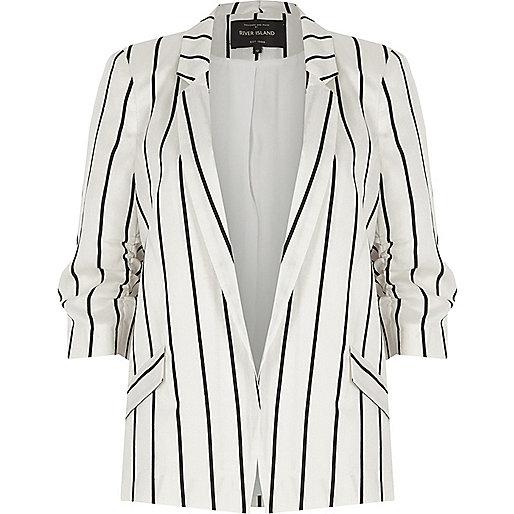 White stripe ruched sleeve blazer