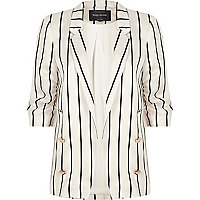 Black stripe ruched sleeve blazer