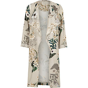 Grey floral print duster coat