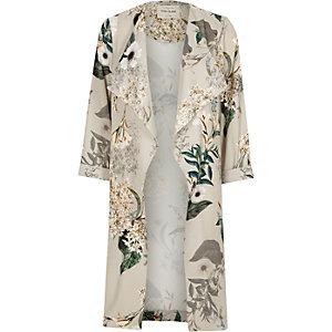 Manteau coupe longue imprimé fleuri gris