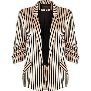 Pink stripe print ruched sleeve blazer