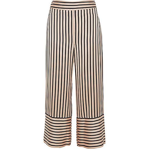 Pink stripe wide leg culottes