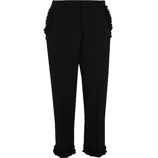 Black frill hem cropped trousers