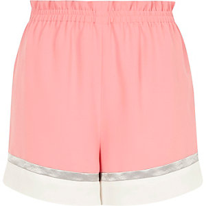 Pink colour block shorts
