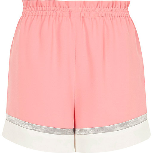Pink color block shorts