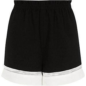 Black colour block shorts