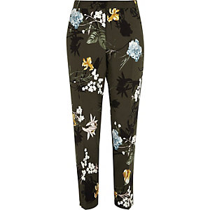 Khaki green floral tapered pants
