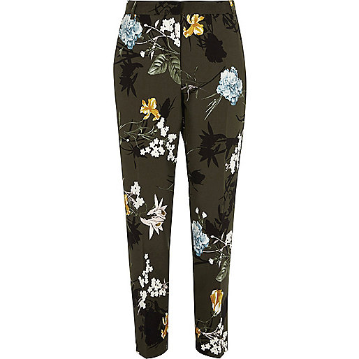 Khaki green floral tapered trousers