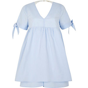 Blue stripe tie sleeve babydoll playsuit