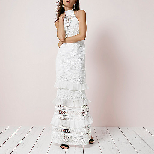 Cream lace frill halter neck maxi dress