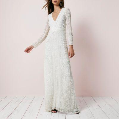 River Island Crème maxi-jurk met lovertjes en lange mouwen
